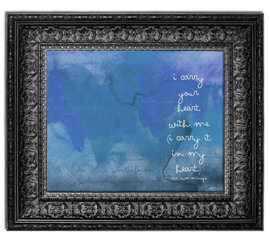 I CARRY YOUR HEART - Vintage Blue Art Print – Willow & Olive