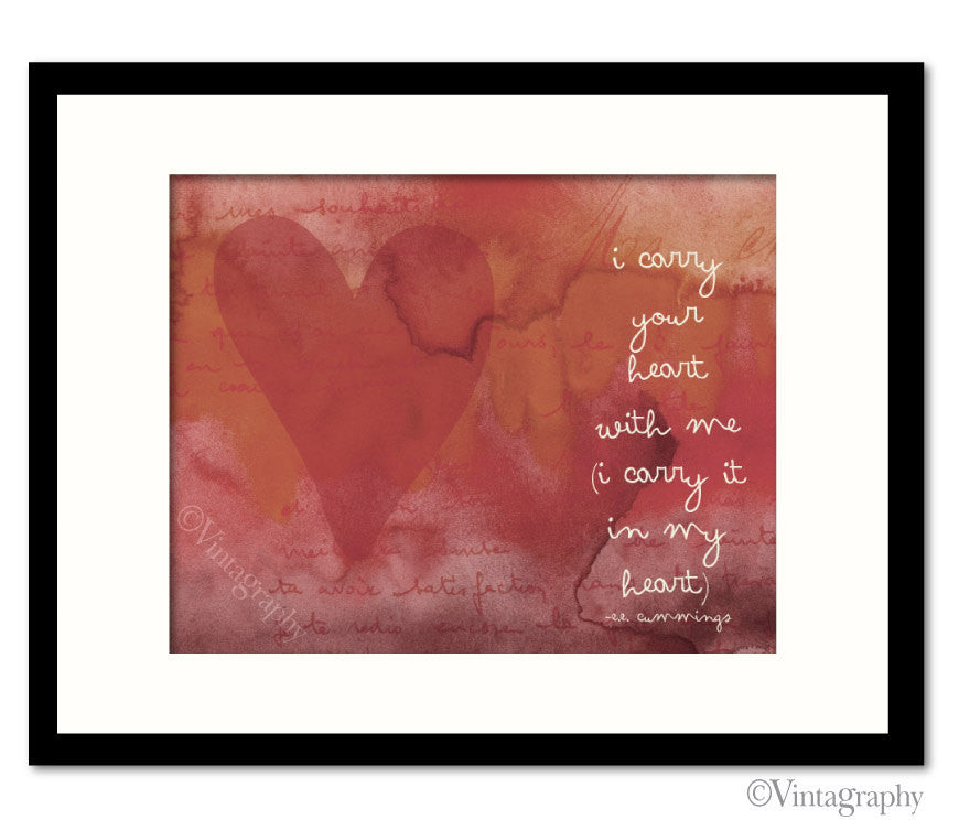 I CARRY YOUR HEART - Vintage Red Art Print