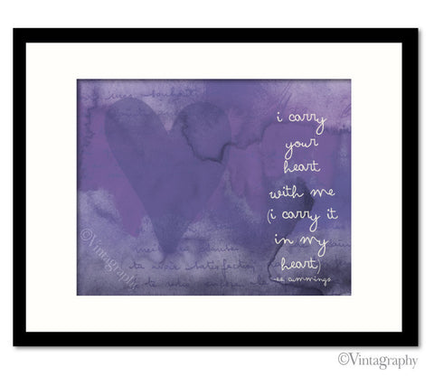 I CARRY YOUR HEART -  Vintage Purple Art Print