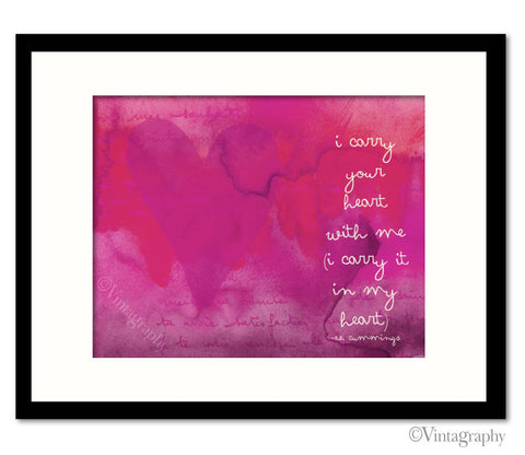 I CARRY YOUR HEART - Vintage Pink Art Print
