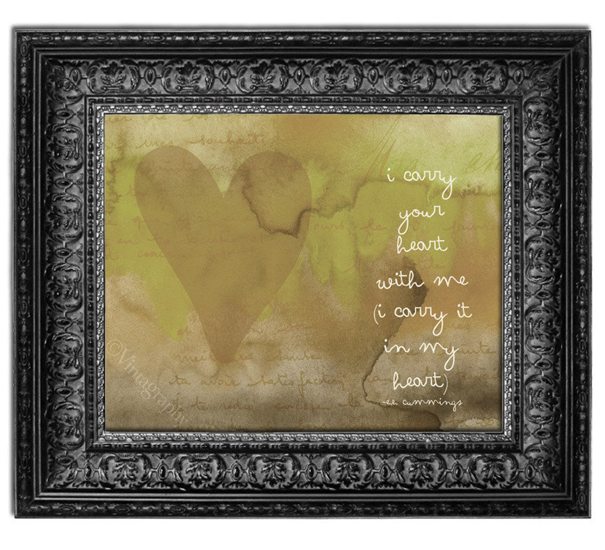 I CARRY YOUR HEART - Vintage Green Art Print – Willow & Olive