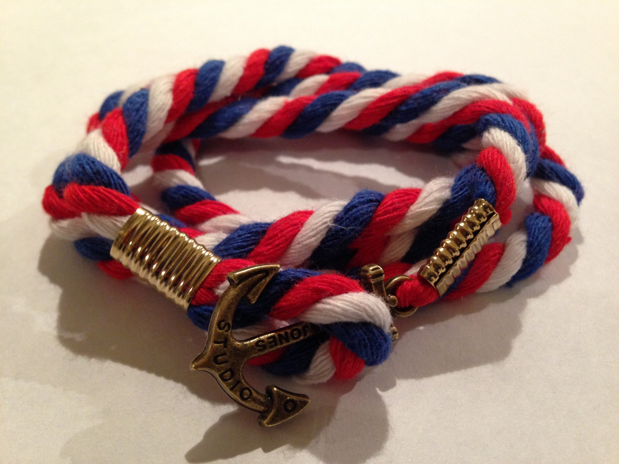Gold Anchor Double Wrap Naval Bracelet