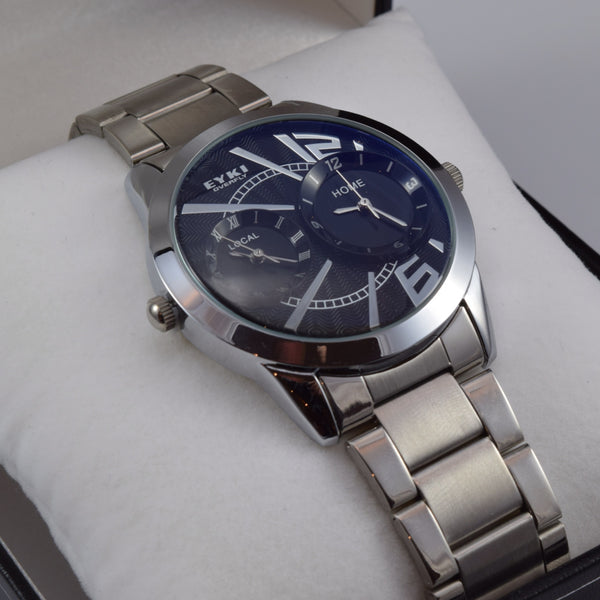 Ascot Noir Dual Time Stainless Steel Men's Watch