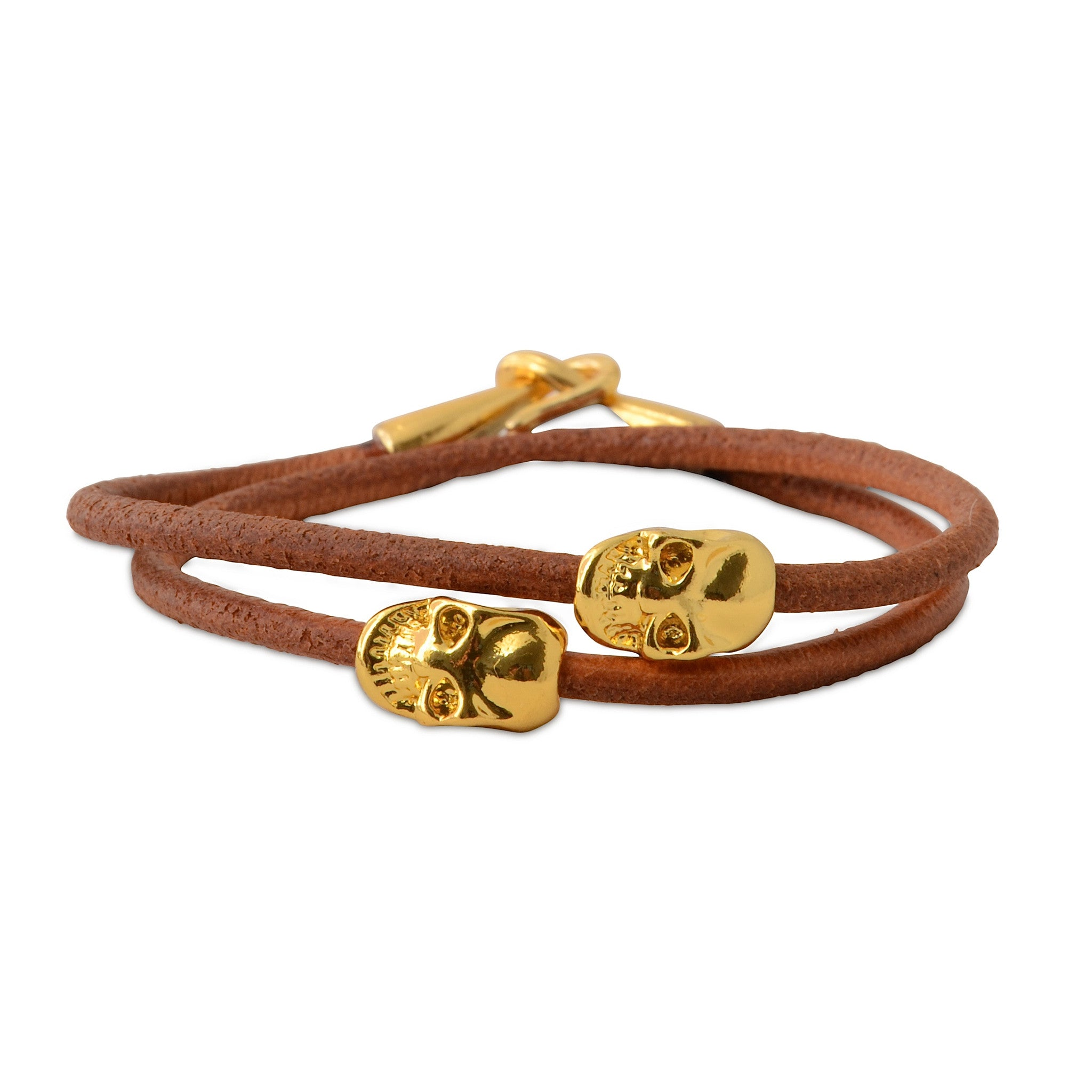 Leather Gold Skull Double Wrap Bracelet