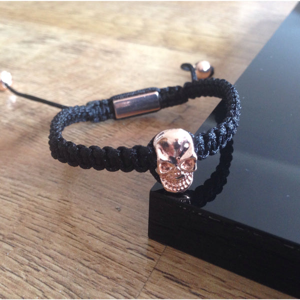 Black Macrame Rose Gold Skull Bracelet