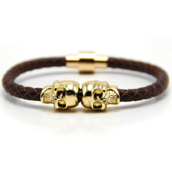 Dark Brown Nappa Leather Gold Twin Skull Bracelet