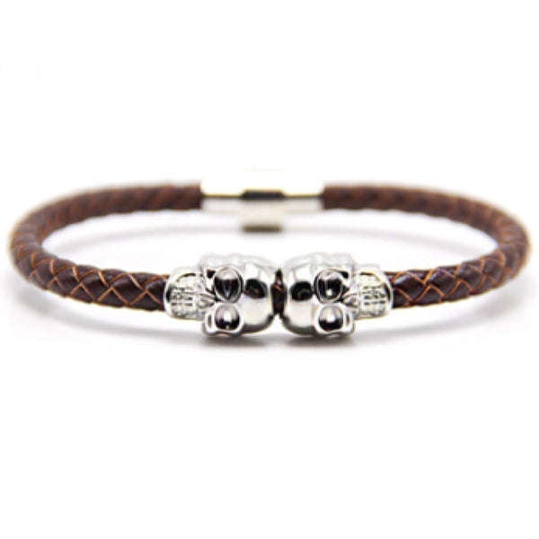Brown Nappa Leather Silver Twin Skull Bracelet
