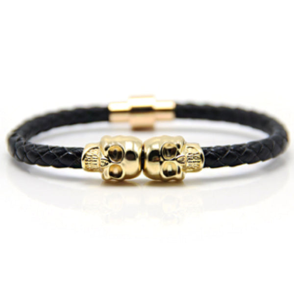 Black Nappa Leather Gold Twin Skull Bracelet