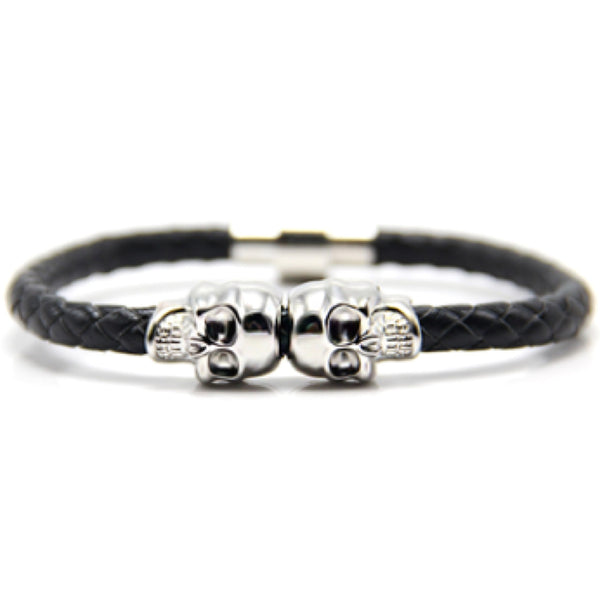 Black Nappa Leather Silver Twin Skull Bracelet