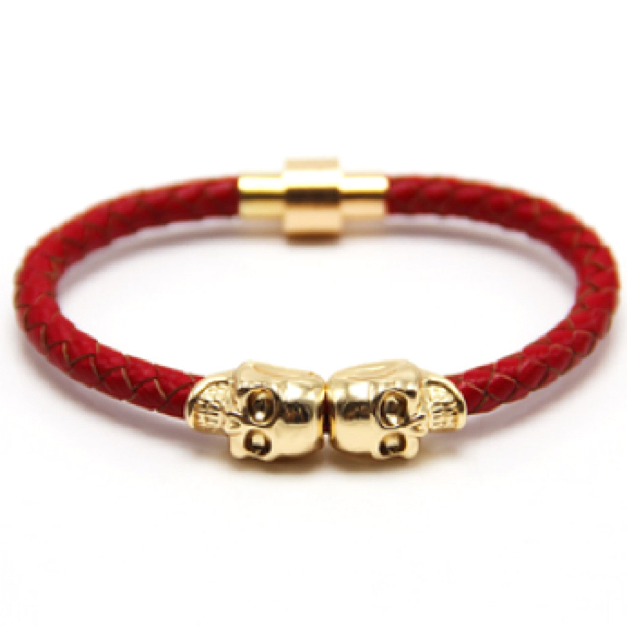 Red Nappa Leather Gold Twin Skull Bracelet
