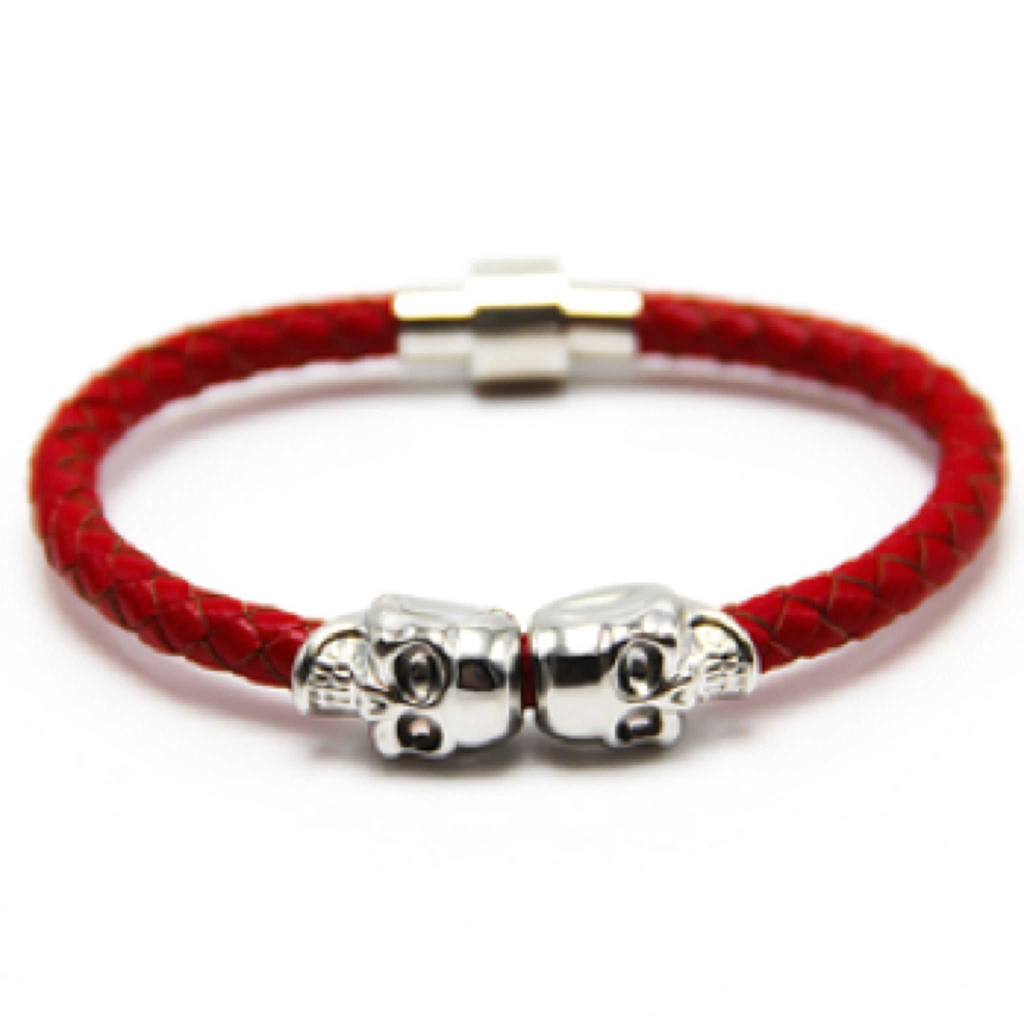 Red Nappa Leather Silver Twin Skull Bracelet