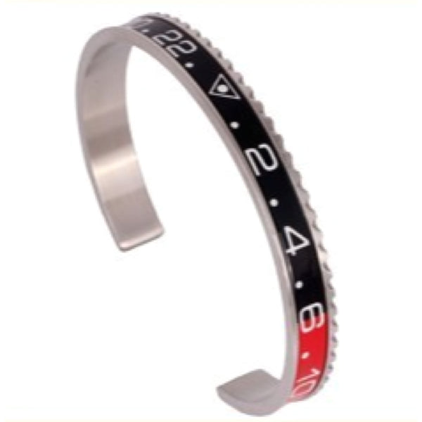 Black & Red Silver Speedometer Bracelet