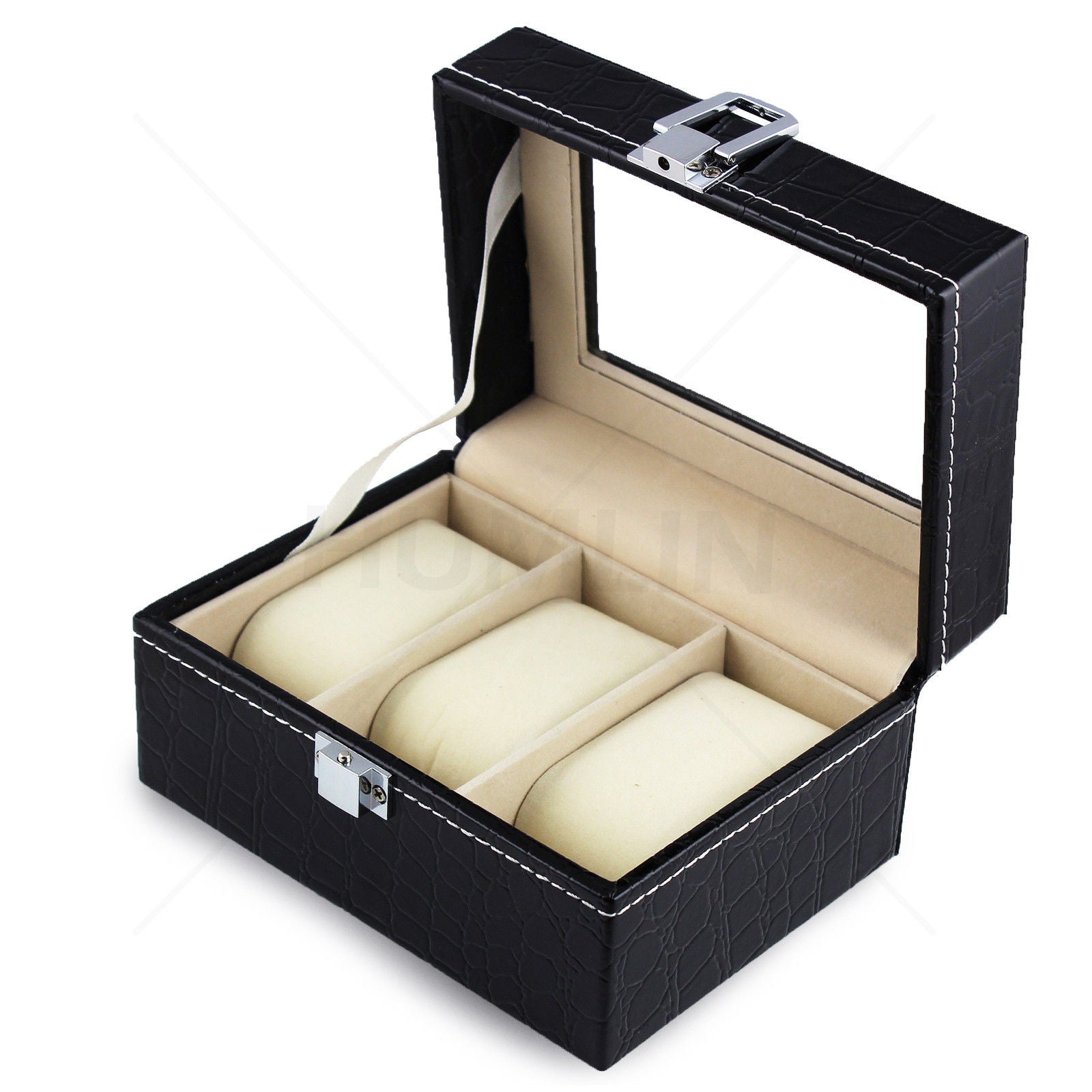 Deluxe Crocodile Leather Watch Display Case