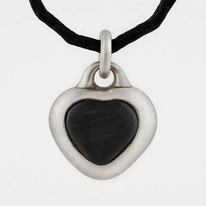 Framed Black Stone Heart Pendant in Solid Sterling Silver - My Beautiful Daughters