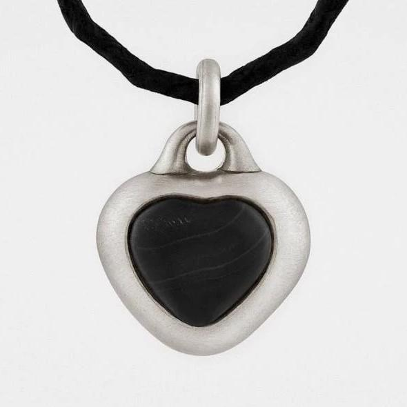 Snake Bones Framed Black Stone Heart Pendant in Sterling Silver - My Beautiful Daughters