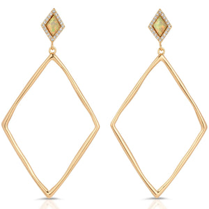 Indigo Gold White Opal Earrings - My Beautiful Daughters