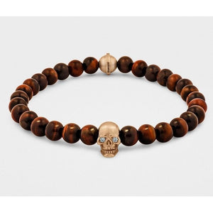 Skull Bracelet in 18KT Gold with Diamond Eyes and Red Tiger Eye - My Beautiful Daughters