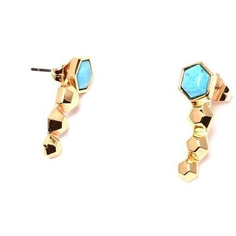 Turquoise-Howlite Hexagon Earrings from The Fronay Collection - My Beautiful Daughters