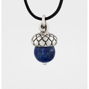Solid Sterling Silver Acorn Pendant with Lapis Lazuli - My Beautiful Daughters