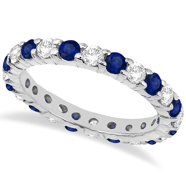 Eternity Diamond and Blue Sapphire Ring Band 14k White Gold (2.35ct) - My Beautiful Daughters