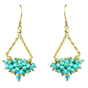 Turquoise Cluster Chandelier Earrings Handcrafted by Gena Myint
