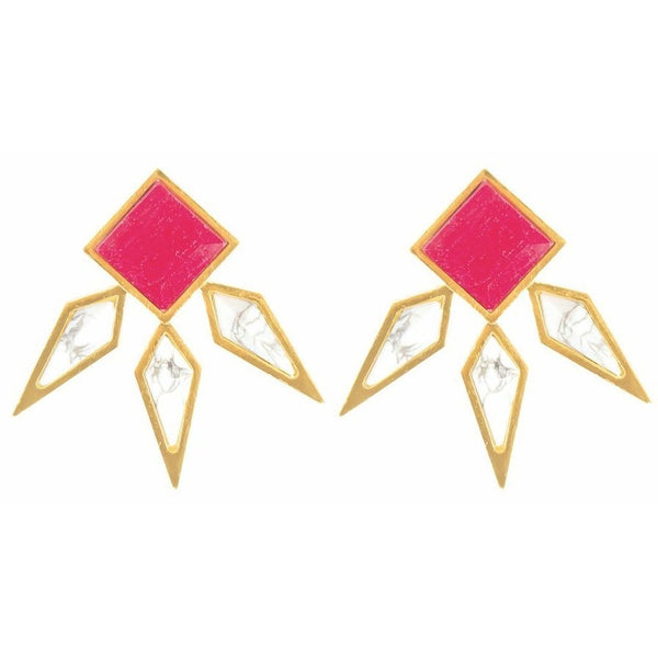 Athena Ruby & Howlite Stud Earrings from Völu joyas - My Beautiful Daughters