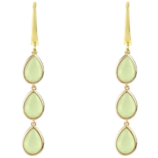 Sorrento Triple Drop Earring Gold Aqua Chalcedony - My Beautiful Daughters