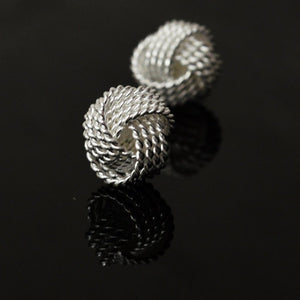 Mirabella Sterling Silver Love Knot Button Earrings