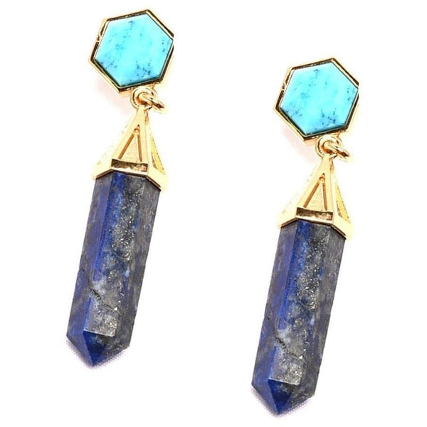 Turqoise-Howlite and Lapis Lazuli Ocean Mix Earring from Völu joyas - My Beautiful Daughters