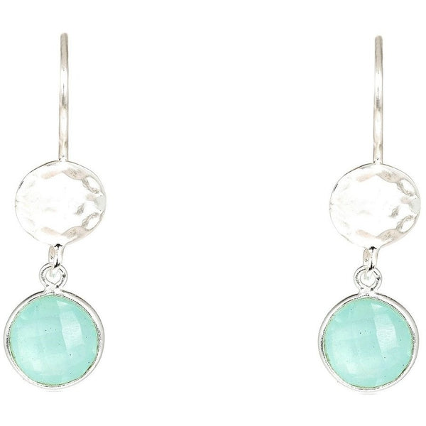 LATELITA London Circle & Hammer Earring Silver Aqua Chalcedony