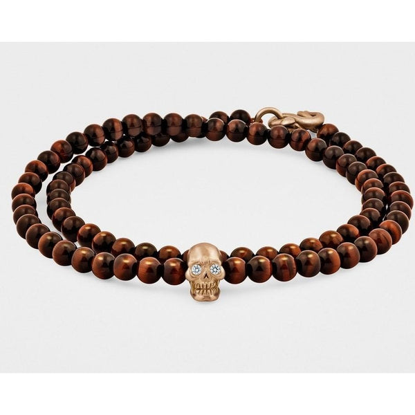 Double-Wrap Skull Bracelet in 18K Gold with Diamond Eyes - Rose Gold - My Beautiful Daughters