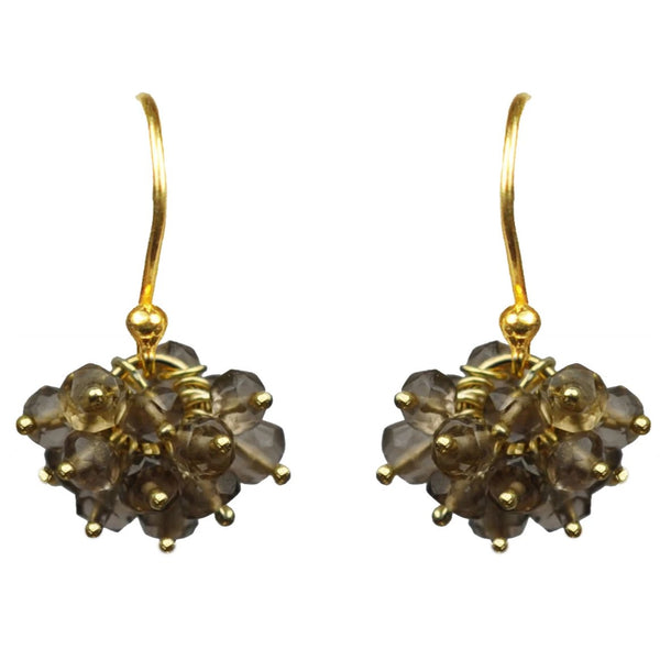 Smoky Topaz Cluster Vermeil Earrings Handcrafted by Gena Myint
