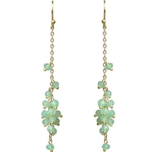 Chrysoprase Cascading Cluster Earrings Handcrafted by Gena Myint
