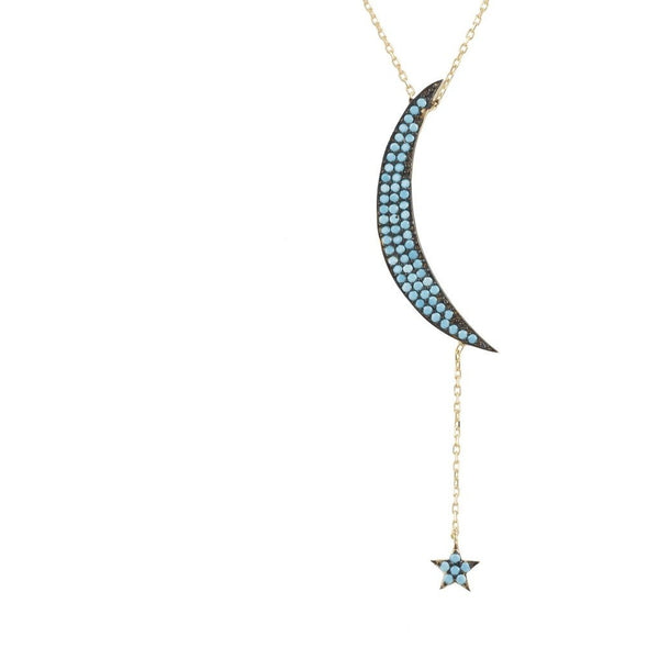 Large Moon and Star Necklace -  Gold Turquoise - My Beautiful Daughters