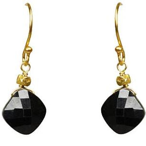 Black Spinel Drop Earrings Handcrafted by Gena Myint