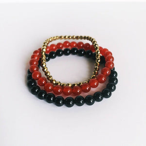 Balance the Mind, Body & Spirit - Black Onyx, Carnelian and Hematite Bracelet Set - My Beautiful Daughters