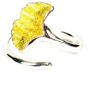Promise Ginkgo Leaf Sterling Silver Ring - My Beautiful Daughters