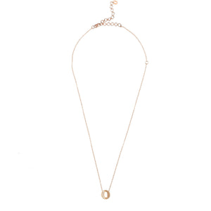 Diamond Initial Letter Pendant Necklace Rose Gold - O - My Beautiful Daughters