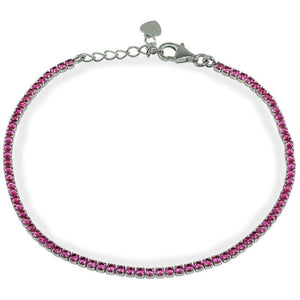 Mini Red Ruby CZ Tennis Bracelet, July Birthstone   Sterling Silver