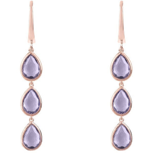 Sorrento Triple Drop Earring Rosegold Amethyst - My Beautiful Daughters