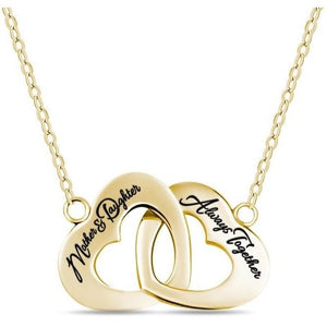 Mother Daughter 14K Gold Plated Interlocking Heart Necklace - 925 Sterling Silver