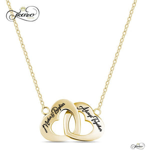 Mother Daughter 14K Gold Plated Interlocking Heart Necklace - 925 Sterling Silver, - My Beautiful Daughters