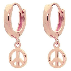 Mini Huggie Girls Earrings Peace Sign| Pink Plating Sterling Silver