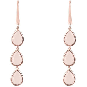 Sorrento Triple Drop Earring Rosegold Rose Quartz - My Beautiful Daughters