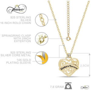 "Sister Heart Necklace,  925 Silver, 14K Gold Plated Necklace Engraved w ""Sisters Forever"" - My Beautiful Daughters"