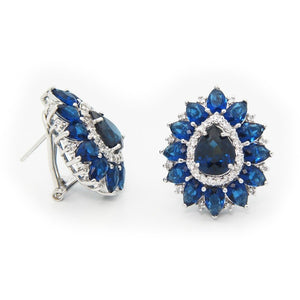 Victorian Sapphire Cubic Zirconia Fine Sterling Silver Stud Earrings - My Beautiful Daughters