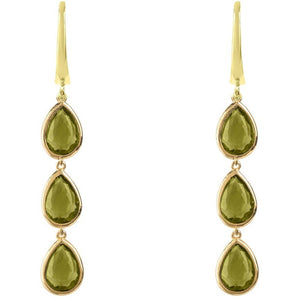 Sorrento Triple Drop Earring Gold Peridot by Latelita London - My Beautiful Daughters