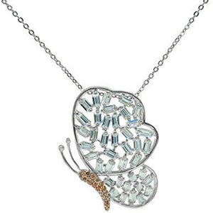 High Luxe Sparkling Baguette Butterfly Necklace | Sterling Silver by Fronay - My Beautiful Daughters