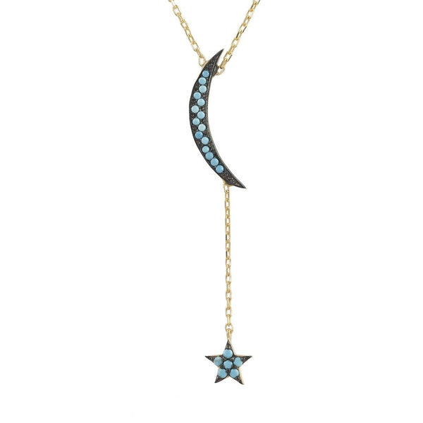 Small Moon and Star Necklace Gold Turquoise - My Beautiful Daughters