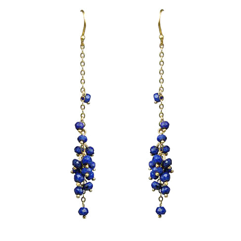 Lapis Lazuli Cascading Cluster Earrings Handcrafted by Gena Myint